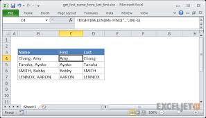 excel formula get first name from name with comma exceljet