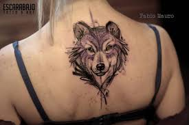 work style wolf on the back
