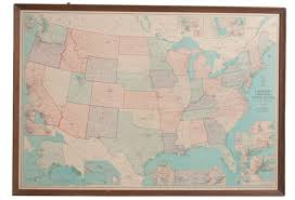 Large United States Map by Large Vintage Framed United States Map Omero Home