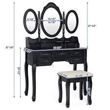 Black Vanity Table Songmics Vanity Set W Stool Make Up Dressing Table 3 Mirrors 7