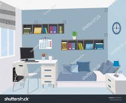 modern teenage room stylish interior colored stock vector