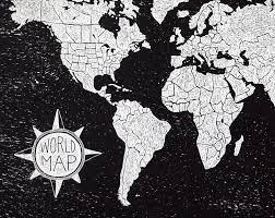 Black And White World Map World Map Dark Art Print Wit U0026 Whistle
