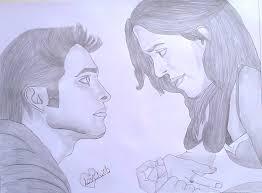 pencil sketch of a love couple desipainters com
