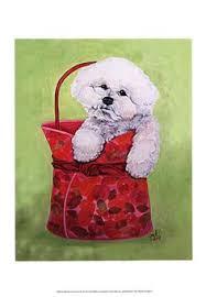 bichon frise quilt bichon frise perro lámina firmada por artista dj por k9artgallery