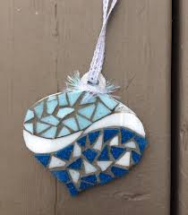 blue blue mosaic ornament glass needle works mosaic anything