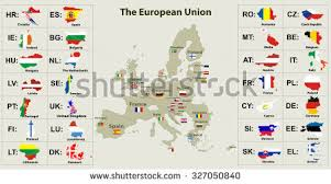 map of all the countries in europe european union map all countries flags stock vector 331639082