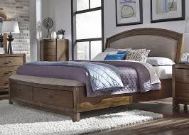 avalon iii pebble brown upholstered storage bedroom set from