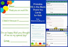 kids thank you cards fill in the blank thank you note free printable