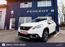 latest peugeot cars kiev ukraine march 22 2017 new peugeot car at dealership
