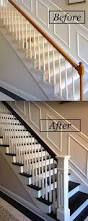 Painting A Banister White Stair Banister Renovation Using Existing Newel Post And Handrail