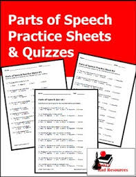 parts of speech practice sheets and quizzes by raki u0027s rad resources