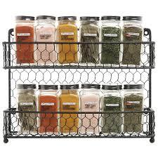 Kitchen Counter Shelf by Mygift Rustic Dual Tier Wire Spice Rack Jars Storage Organizer