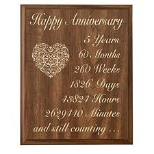 5 year wedding anniversary gifts for him 5th wedding anniversary wall plaque gifts for 5