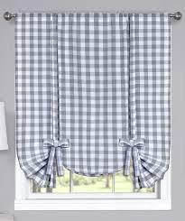 Blue Buffalo Check Curtains Buffalo Check Tie Up Shade Grey Country Valances