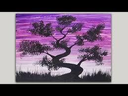acrylic painting simple silhouette painting bonsai tree painting