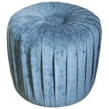 threshold pleated ottoman stool mermaid blue velvet polyvore