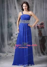 royal blue empire one shoulder floor length beading chiffon prom