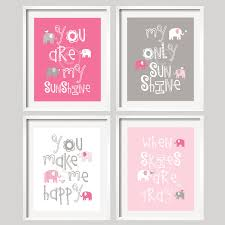 Gray And Pink Nursery Decor by Pink And Gray Nursery Decor Prints You Are My Sunshine