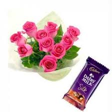 Rose Flower Images Pink Rose Flower Bouquet With Dairymilk Silk Best Sellers