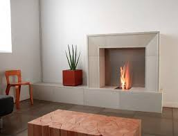 furniture minimalist room with white ultra modern fireplace