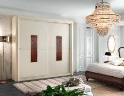 beige stained wooden wardrobe design come with traditional style