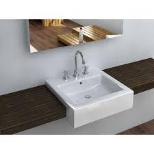 filament design cantrio semi recessed bathroom sink in white