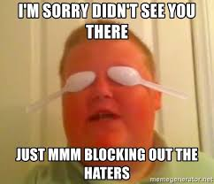Mmmm Meme - i m sorry didn t see you there just mmm blocking out the haters