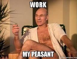 Peasant Meme - work my peasant sexual picard make a meme