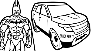 color suv with batman and spiderman coloring pages for kids