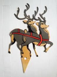 lawn reindeer with lights plastic santa sleigh and reindeer outdoor decoration outdoor designs