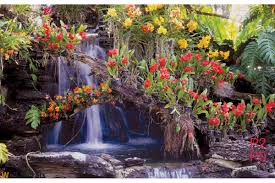 mural small waterfall with many flowers wallpapers mural small waterfall with many flowers