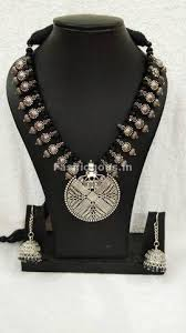 metal necklace set images Contemporary oxidized metal jewelry set with black crystals jpg