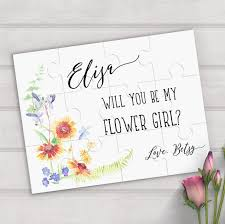 will you be my flower girl gift personalized puzzle will you be my flower girl mrsmylaurie
