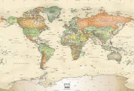Map Wallpaper Antique Oceans World Political Map Wall Mural Miller Projection