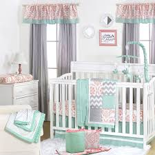 5 Piece Nursery Furniture Set by Amazon Com Mint Coral And Grey Patchwork 5 Piece Baby Crib