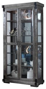 Glass Shelves Cabinet Jane Rustic Dark Gray With Glass Shelves Curio Transitional