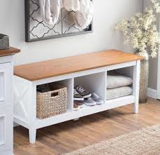 hallway bench with storage with white color ideas home interior
