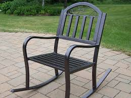 Contemporary Patio Chairs Furniture Iron Dark Black Outdoor Rocking Chairs For Contemporary