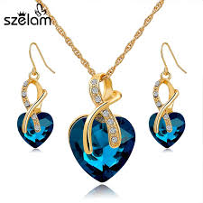 jewelry necklace earring sets images Szelam 2016 crystal heart necklace earrings jewellery set for jpg