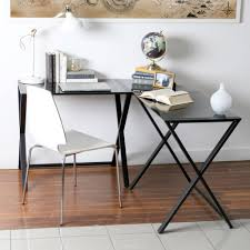 Black Glass L Shaped Desk by Walker Edison Glass And Metal X Frame Corner Computer Desk Black
