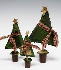 set of 3 primitive felt christmas trees table decor christmas