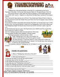 thanksgiving comprehension worksheet worksheets for all