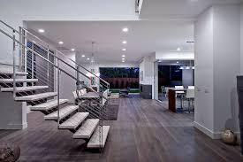 modern great room with chandelier hardwood floors in los angeles