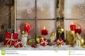 Christmas Window Decorations by Classical Christmas Wooden Window Decoration With Red Candles An