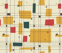 Mid Century Modern Fabric Reproductions Mid Century Modern Grid U0026 Stars Fabric By Studiofibonacci On