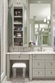 Bathroom Vanity With Shelves Gray Bath Vanity With Lucite Stool Transitional Bathroom