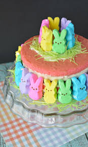 Decorating Easter Cake With Peeps by Bountiful Bunny Peep Easter Cake Recipe The Rebel