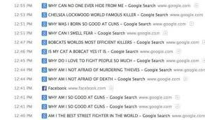 Search History Meme - leaving the browser history open in case anyone in the coffee shop