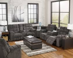 reclining sectional with left side loveseat cup holders and