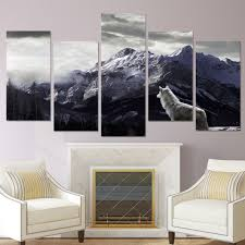 wolf home decor wolf canvas wall art print snow mountain picture large framed home